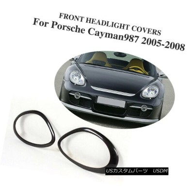 エアロパーツ 2PCS Carbon Fiber Headlight Covers Eyelids Fit For Porsche 987 Cayman 05-08 2PCSカーボンファイバーヘッドラ...