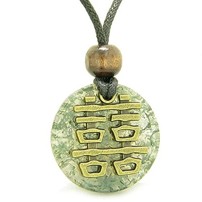 Double Happiness Feng Shui Amulet Fortune Powers Green Moss Agate Coin Medallionペンダントネックレス