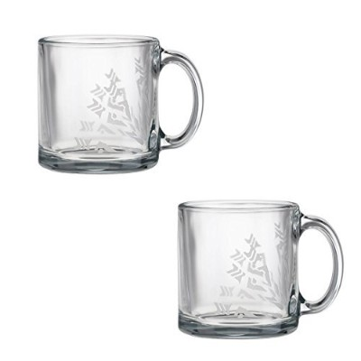 Frank Lloyd Wright Perforatedボードデザインガラスマグ13-ounceのセット2 13-Ounce Mug Glass クリア 359HH0442-2DS