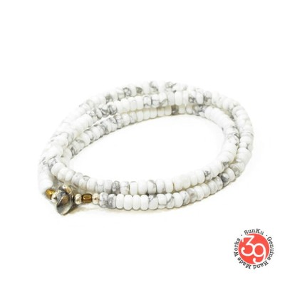 Sunku/39/サンクSK-070 Howlite Beads Necklace & BraceletアンティークビーズブレスレットNecklace/ネックレスSilver925/シルバー...