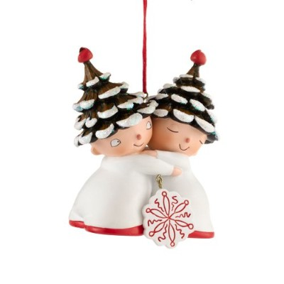 Department 56Once Upon a PinetreeダブルElf Hanging Ornament、3.5インチ