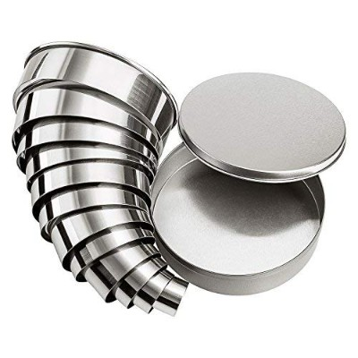 12 Cookie Biscuit Cutter Set Circle Donut Cutters Round Baking Metal Ring Mould