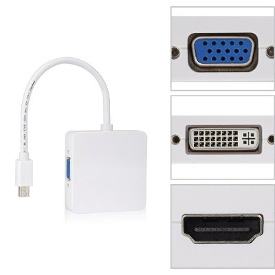 【送料無料】3in1 Mini Displayport/Thunderbolt to VGA/HDMI/ DVI変換アダプタ For Apple/Surface pro