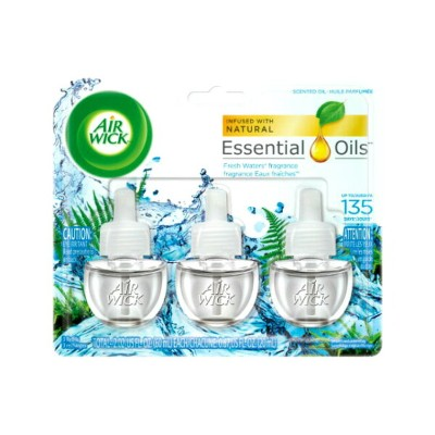 AIR WICK Scented Oil Fresh Waters 3Refillsエアーウィック芳香オイル・詰め替え用・芳香剤・香り・アメリカ・詰め替えボトル
