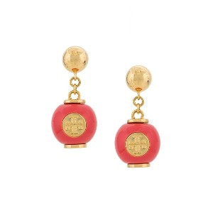 Tory Burch logo bead earrings - ピンク