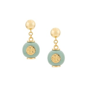 Tory Burch logo bead earrings - グリーン