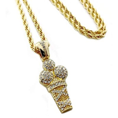 Iced Out Ice Creamペンダントネックレス24cmロープチェーン