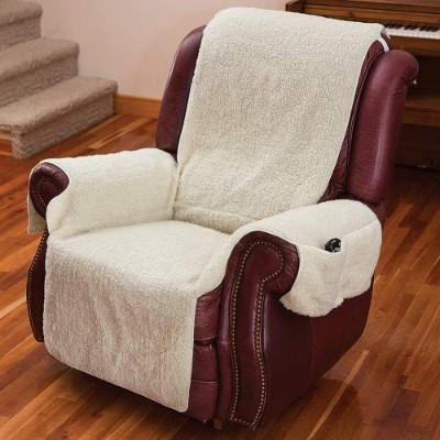 (Natural) - Recliner Chair Cover One Piece w/Armrests and Pockets - One Size Fits Most