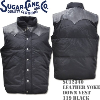 Sugar Cane(シュガーケーン)LEATHER YOKE DOWN VEST Black SC12340-119