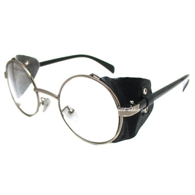 30's STYLE LEATHER SIDE COVER ROUND SUNGLASS(30sスタイルレザーサイドカバーラウンドサングラス)SILVER/BLACK × CLEAR...