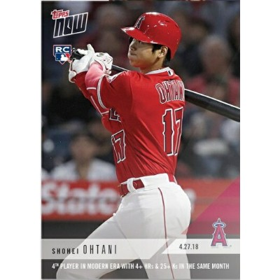 2018 TOPPS NOW #136 大谷翔平 4TH PLAYER IN MODERN ERA WITH 4+ HRS&25+KS IN THE SAME MONTH