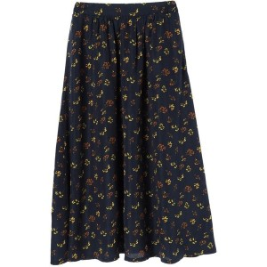 【SALE 64%OFF】グリーンパークス Green Parks 花柄ギャザーロングスカート (Navy)