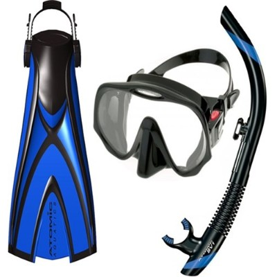 シュノーケリング マリンスポーツ Atomic Pro Package - X1 Open Heel Blade Fin, SV1 Snorkel and Frameless Mask (Small...