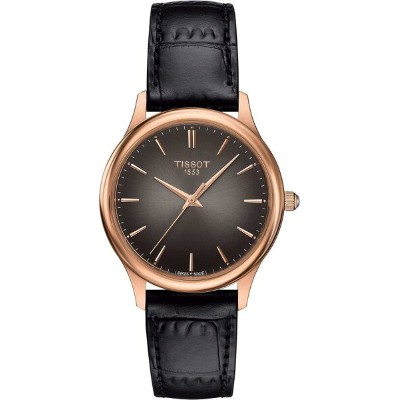 ティソ 腕時計 レディース Tissot Excellence Lady 18K Rose Gold Black Leather Anthracite Gradient Dial Watch...