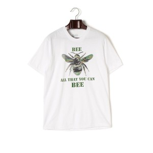 【67%OFF】BEE ALL THAT YOU CAN BEE プリント クルーネック 半袖Tシャツ ホワイト l ファッション > メンズウエア~~その他トップス