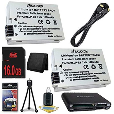 TWO LP-E8 Lithium イオン リプレイスメント Batteries + 16GB SDHC Memory Card + ミニ HDMI + USB SD Memory Card...