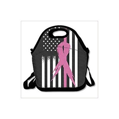 Breast Cancer Flag Lunch Bag Tote Handbag Lunchbox For School Work Outdoor