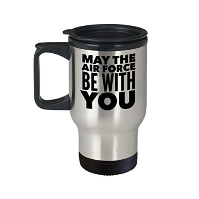Air Force Travel Coffee Mug - My the Air Force Be With You - Gift for Soldier - 410ml Stainless...