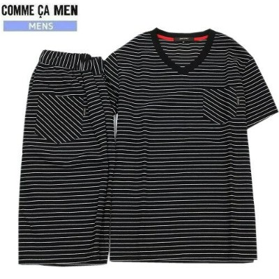 ★SALE 37%OFF★【サンプル品】【COMME CA MEN】コムサメン ボーダー鹿の子ルームウェア上下セット(半袖&半ズボン) 黒『17/5/4』250517