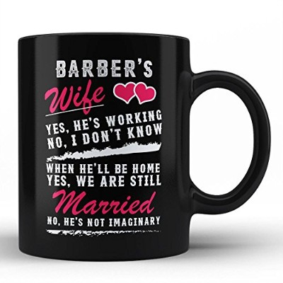 Funny Barber 's WifeブラックコーヒーマグPerfect Gift Idea For Barber妻Sarcasm Typography Quote、デザインno : ...