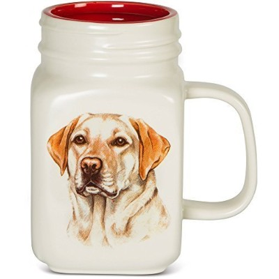 Pavilion Gift Company Yellow Lab Mason Jar Mug, 21 oz, Multicolored by Pavilion Gift Company [並行輸入品]