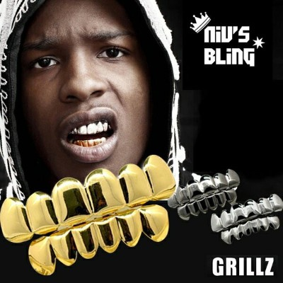 Niv's Bling ゴールド カスタム 6 Tooth トップ&ボトムセット - Gold Custom 6 Tooth Top Bottom GRILLZ Bling Mouth Teeth...