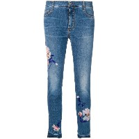 Ermanno Scervino cropped skinny jeans with floral embellishments - ブルー