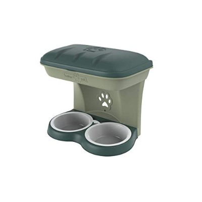 Bama Pet Mountable Food Stand with Storage Compartment, Green, Larger Dog Size