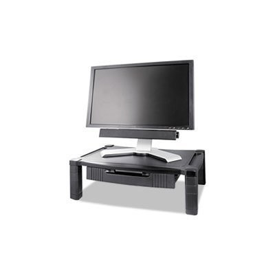 ** Wide Two-Level Stand with Drawer, Height-Adjustable, 20 x 13 1/4, Black ** by 4COU [並行輸入品]