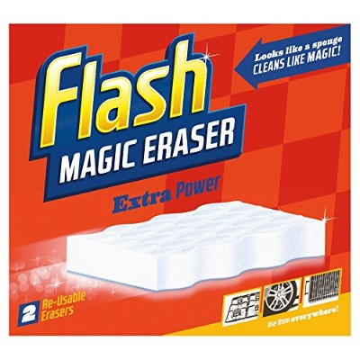 Flash Ultra Power Magic Eraser, Removes Impossible Stains Like Crayon on Walls, Tough Grease on...