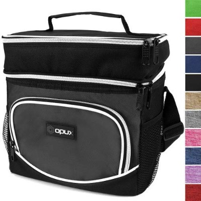 (Gray) - OPUX Premium Thermal Insulated Dual Compartment Lunch Bag for Men Double Deck Reusable...