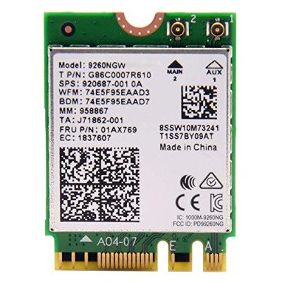 intel WIRELESS-AC 9260 M.2(2230 A/E) 802.11ac wave2 (1,733MHz 2x2 HT160) Bluetooth5.0【バルク品】