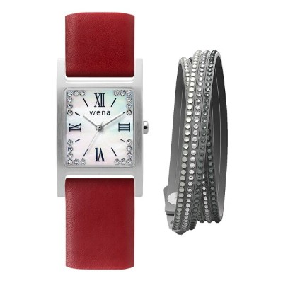 Three Hands Square Silver Crystal Edition + wena wrist leather 18mm Wine Red (ブレスレット付)
