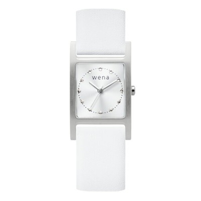 Three Hands Square Silver + wena wrist leather 18mm White