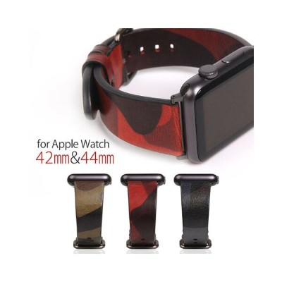 Apple Watch バンド 本革 アップルウォッチ Series 1/ 2/ 3 (42mm)、Series 4 (44mm)対応 SLG Design Italian Camo Leather...