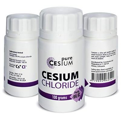 Pure Cesium塩化セシウムCsCl粉末100g、純度 99.9%、Pure Cesium、分析証明書付き、認定実験室にてテスト済み、3.5オンス