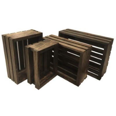 Vintage Stained-rustic Wood Crates Set of 4 by Mowoodwork
