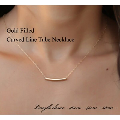 glitter.81オリジナル│14Kゴールドフィルド|14KGF|シンプルバーチェーンネックレス Gold Filled Curved Line Bar Necklace【あす楽対応】【楽ギフ...