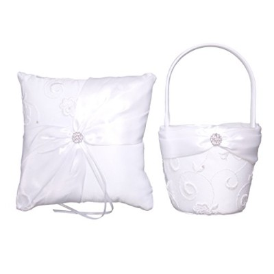(Satin and Lace) - Bundle of Lillian Rose Ring Bearer Pillow and Flower Girl Basket (Satin and Lace)