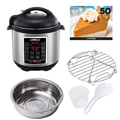 GoWISE USA GW22623 1300W 4th-Generation Electric Pressure Cooker with Steam Rack and Basket, 8...