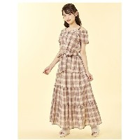 【SALE 20%OFF】Cherite by PRIME PATTERN チェックティアードマキシワンピース(ベージュ)【返品不可商品】