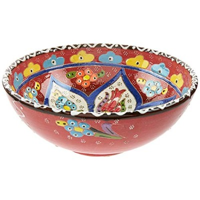 (Red) - Wind & Weather Handcrafted Turkish Salad Bowl, Red