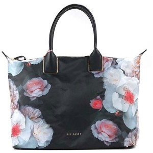 【SALE 20%OFF】テッドベーカー TED BAKER CHELSEA PRINTED NYLON LARGE TOTE (BLACK) レディース