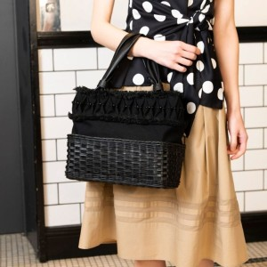 SALE【トゥー ビー シック(TO BE CHIC)】 ラタンコンビバッグ ラタンコンビバッグ ブラック