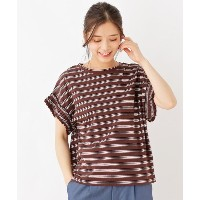 【grove(グローブ)】 ギャザーヘムスリーブボーダーカットソー OUTLET > grove > トップス > カットソー ダークブラウン