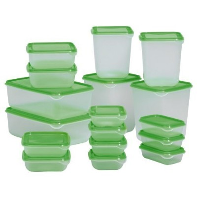 Ikea Bpa-free Food Container 601.496.73, Set of 17, Green (Green, 2) by IKEA