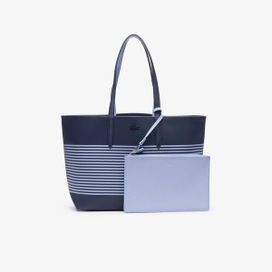 LACOSTE ANNA FANTAISIE マリンボーダーリバーシブルトートバッグ