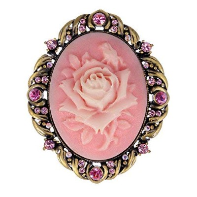 Alilang Vintage Inspired Antique Reproduct Rose Pink Crystal Flower Cameo Pin Brooch