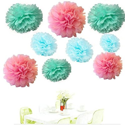 Since 18PCS Mixed Pink Blue Mint Party Tissue Pom Poms Paper Flower Pompoms Wedding Birthday Party...
