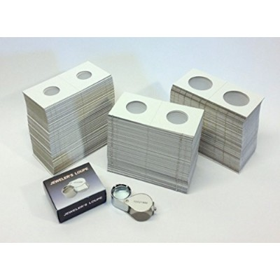 Cardboard Coin Holders (Coin Flips) - 300 assorted sizes PLUS 10x21 Loupe Magnifier